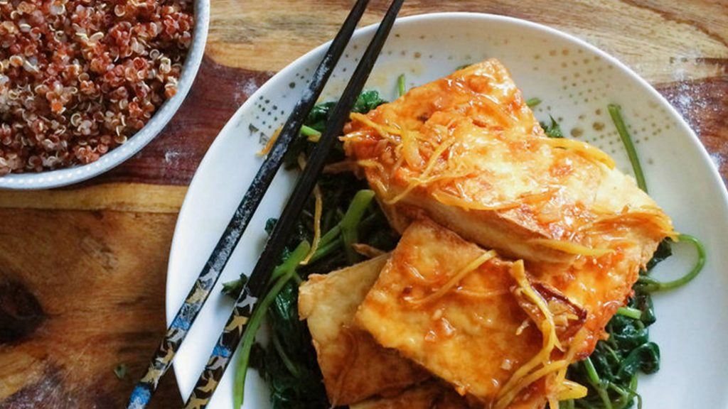 Chili Lime Ginger Sauce with Fried Silken Tofu