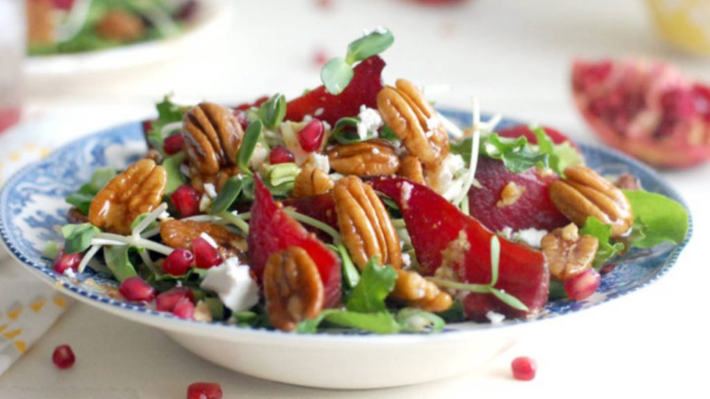 Candied Pecan Roasted Beet Salad with Maple Balsamic Dressing